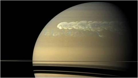 Une tempête sur Saturne. Photo : NASA/Cassini