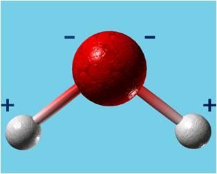 Représentation d'une molécule d'eau, crédits: R.Bichac